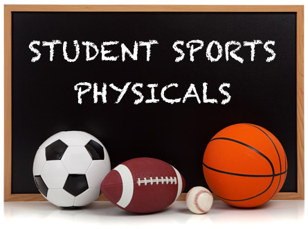 physical graphic with soccer ball, football, baseball and basketball in front of old fashion black board.