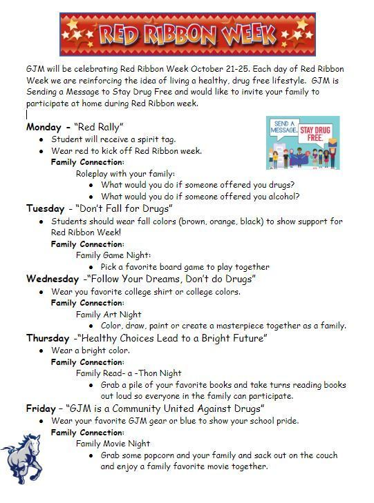 Red Ribbon Week Activities 10/21-10/25